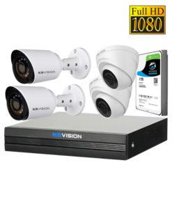 Trọn bộ 04 Camera AHD & Đầu ghi KBVision Full HD