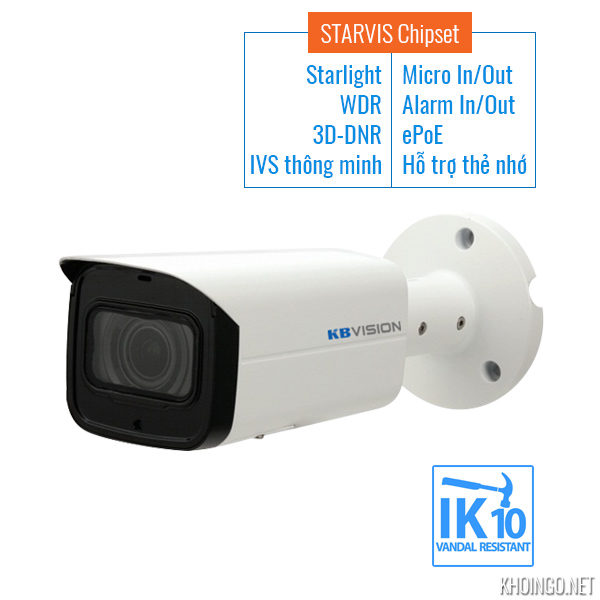 Camera-IP-KBVision-KX-2003iAN-Full-HD-STARVIS-Starlight-WDR_120dB-IVS-3D-DNR-Alarn_In_Out-Micro_SD-ePoE-SMart_IR_60m-IP67---STARVIS-Chipset