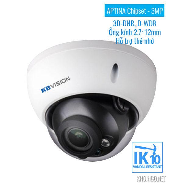 Camera IP KBVision KX-3004AN 3D-DNR D-WDR IK10 - APTINA Chipset