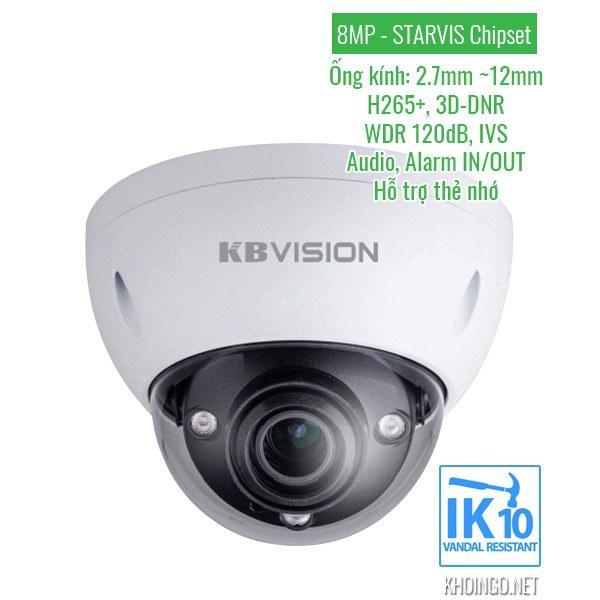 Thông số kỹ thuật Camera IP KBVision KX-8004iMN 8MP