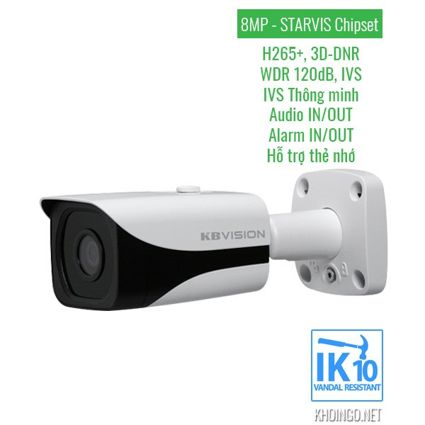 Thông số kỹ thuật Camera IP KBVision 8005iN 8.0 Megapixel