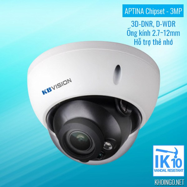 Giới thiệu Camera IP KBVision KX-3004AN 3D-DNR D-WDR IK10 - APTINA Chipset