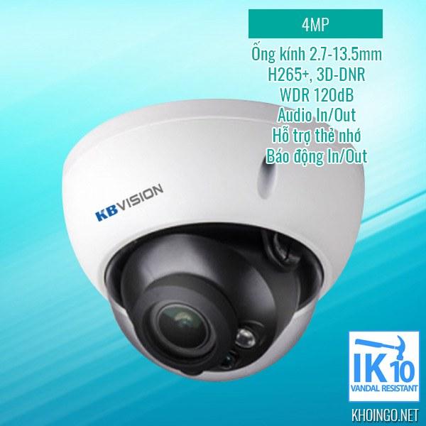 Giới thiệu IP Camera KBVision KX-4004iMN 4MP H265+ 3D-DNR WDR 120db IK10