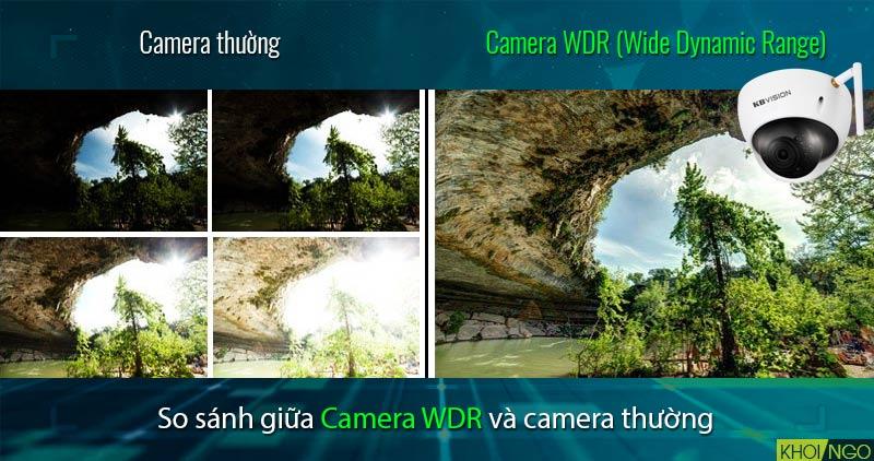 So sánh IP Camera Wifi 4MP KBVision KX-4002WAN chống ngược sáng WDR