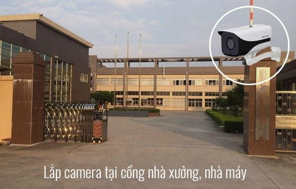 Lắp đặt camera tại cổng chính của nhà xưởng