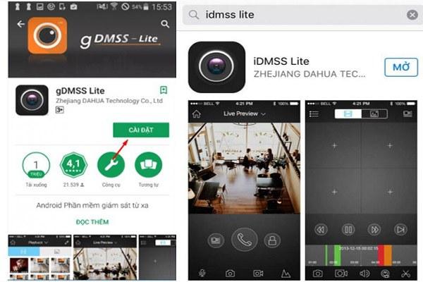 Cài phần mềm iDMSS hoặc gDMSS trên điện thoại