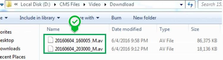 Thư mục sau khi download file video từ thẻ nhớ camera Yoosee