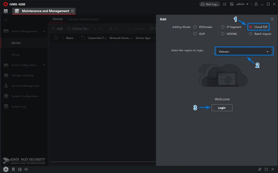 Đăng nhập Hik-Connect qua Cloud P2P