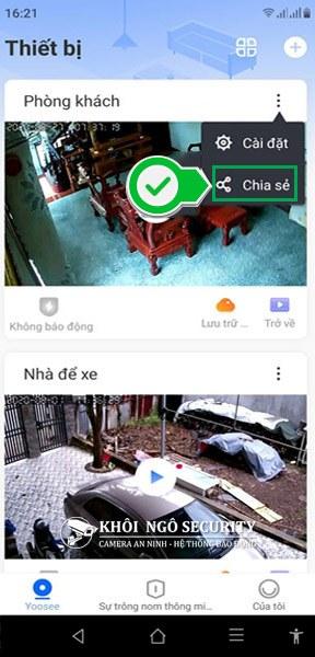 Chọn mục share camera Yoosee cho điện thoại khác
