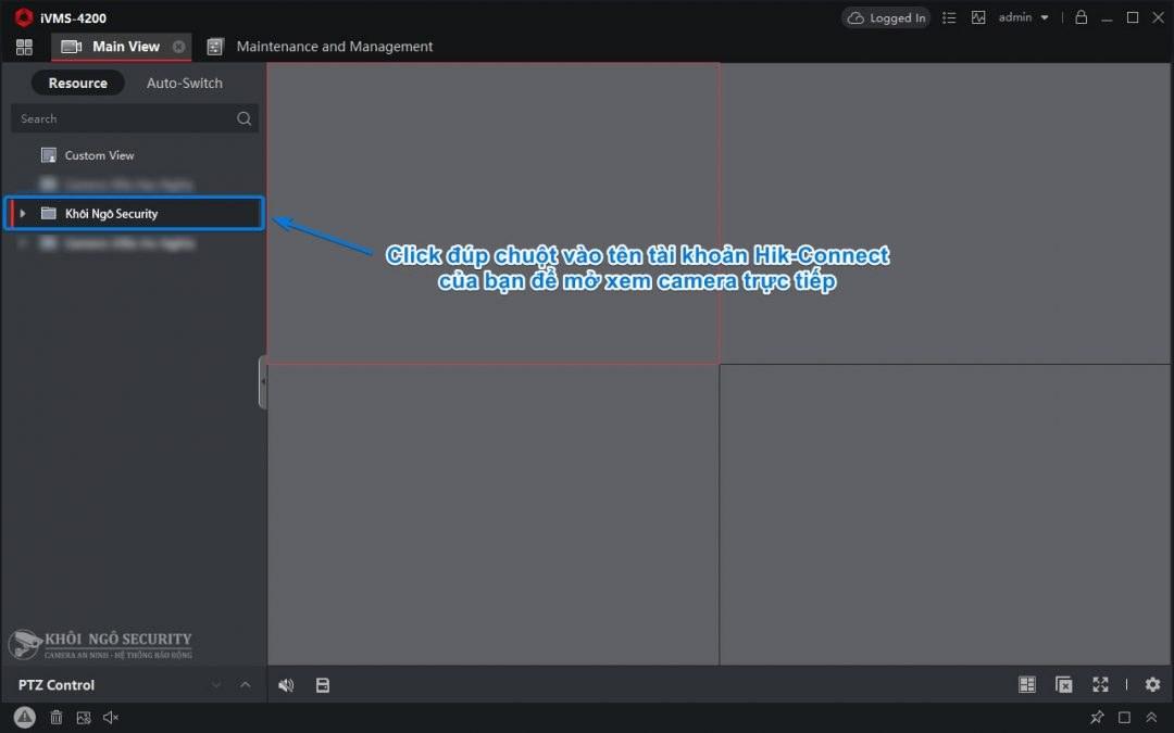 Double click vào tên tài khoản Hik-Connect để mở live view camera