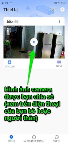 Hình ảnh camera Yoosee sau khi chia sẻ qua số điện thoại