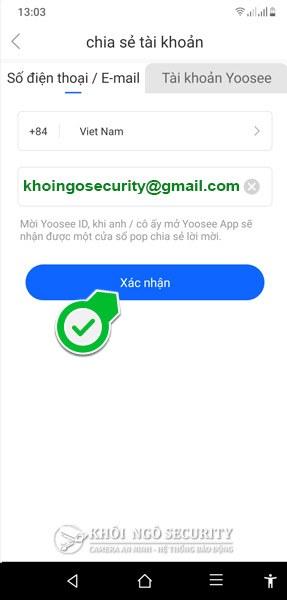 Hướng dẫn chia sẻ camera Yoosee bằng email
