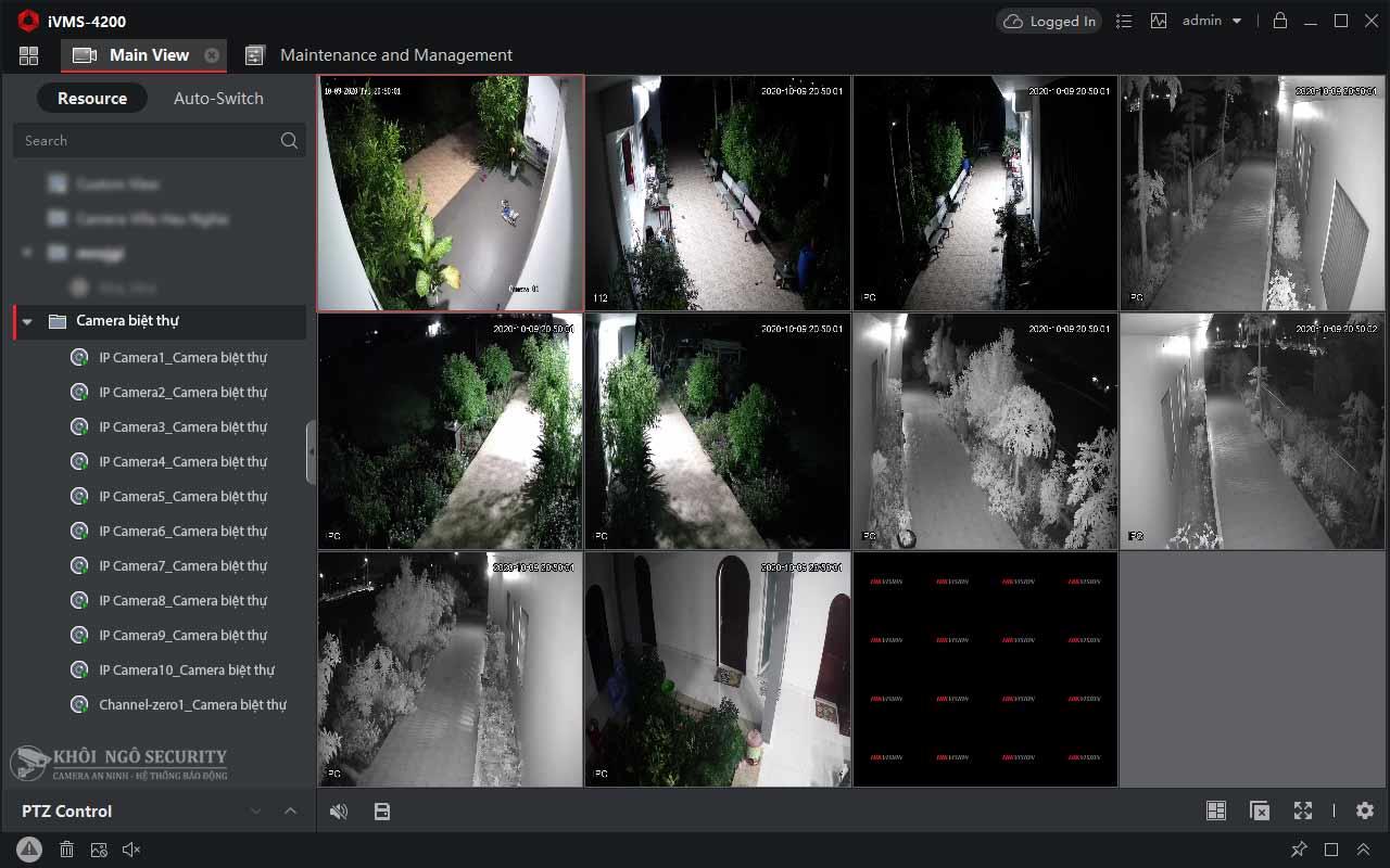 Màn hình xem trực tiếp camera Hikvision trên máy tính