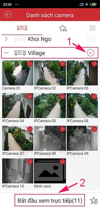 Chọn đầu ghi hoặc camera cần xem live view bằng iVMS-4500 trên điện thoại
