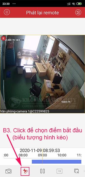 Chọn điểm bắt đầu của video cần trích xuất camera trên iVMS-4500 điện thoại