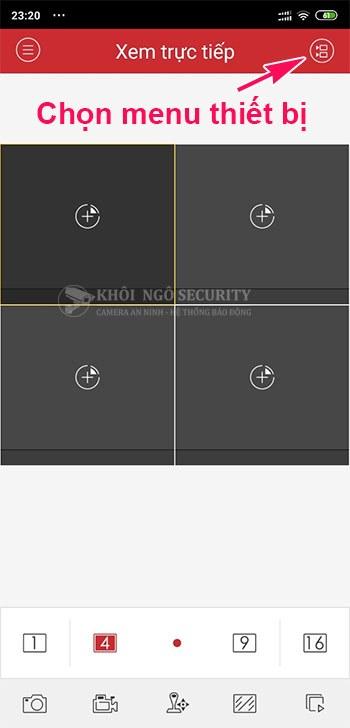 Chọn nút menu thiết bị trên iVMS-4500 Lite
