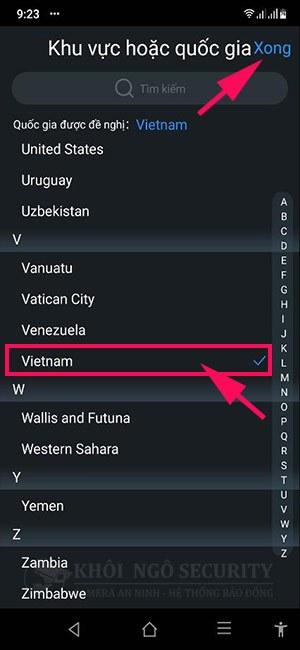 Chọn quốc gia là Việt Nam