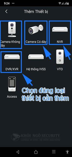 Chọn thiết bị đầu ghi hoặc camera cần thêm vào phần mềm gDMSS