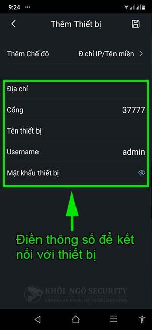 Điền thông số kết nối thiết bị Dahua bằng địa chỉ IP hoặc tên miền