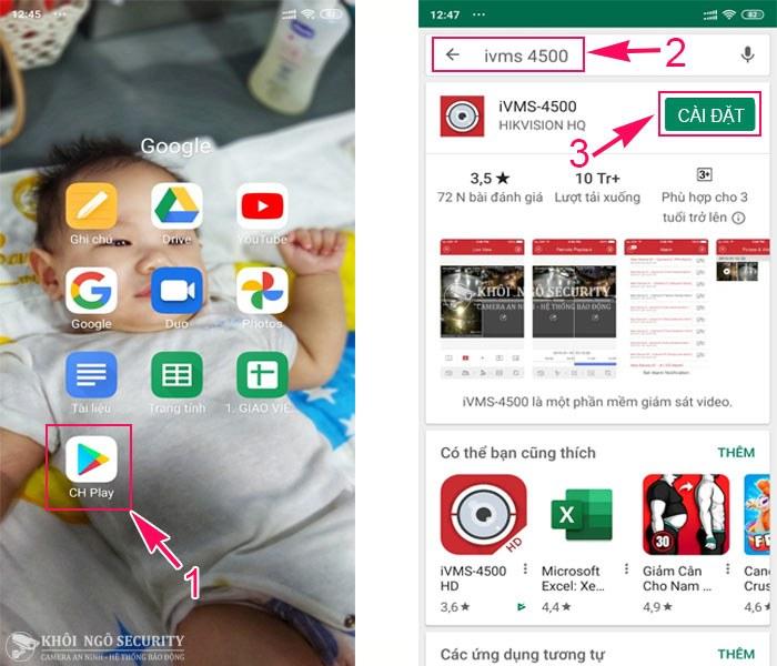 Hướng dẫn download iVMS-4500 qua Google Play trên điện thoại Android