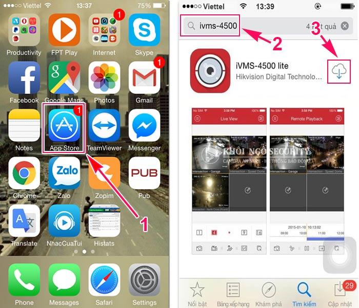 Hướng dẫn tải iVMS-4500 qua AppStore trên điện thoại Iphone Ipad