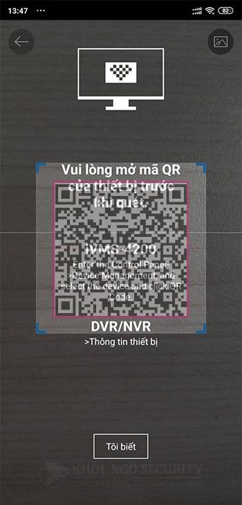 Thêm đầu ghi Hikvision bằng iVMS-4500 trên điện thoại bằng quét mã QR Code