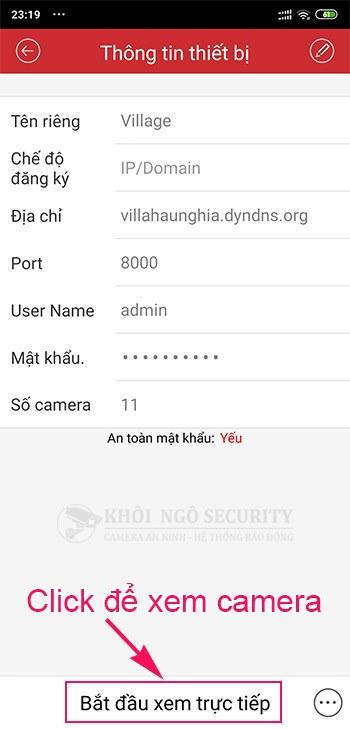 Xem camera bằng tên miền trên iVMS-4500 cho điện thoại